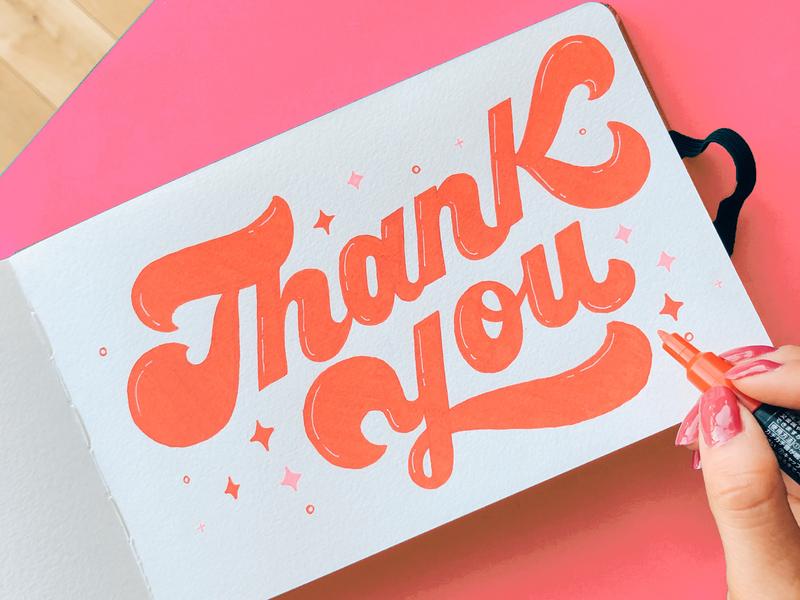 Thank You Lettering illustration brush lettering handwritten calligraphy hand lettering handlettered design art type typography letters lettering handlettering