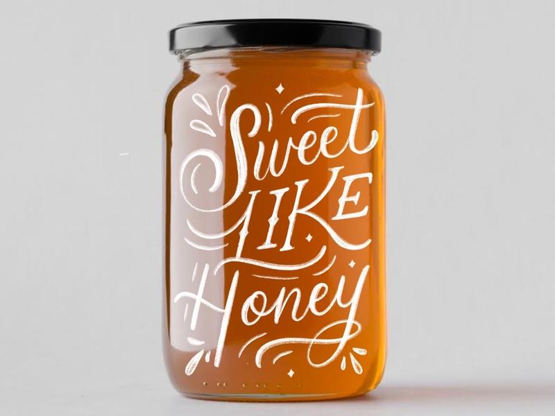 Sweet Like Honey graphic design logo illustration brush lettering handwritten calligraphy hand lettering handlettered design art type typography letters lettering handlettering