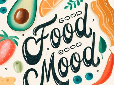 Good Mood Good Food brush lettering handwritten hand lettering calligraphy handlettered type typography letters lettering handlettering
