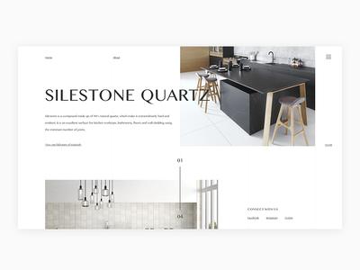 Silestone Homepage modern minimal kitchen layout ux ui concept web design