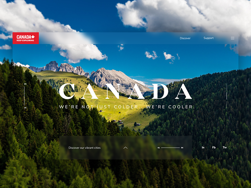 Canada Tourism Landing Page web design concept ui ux layout holiday tourism canada