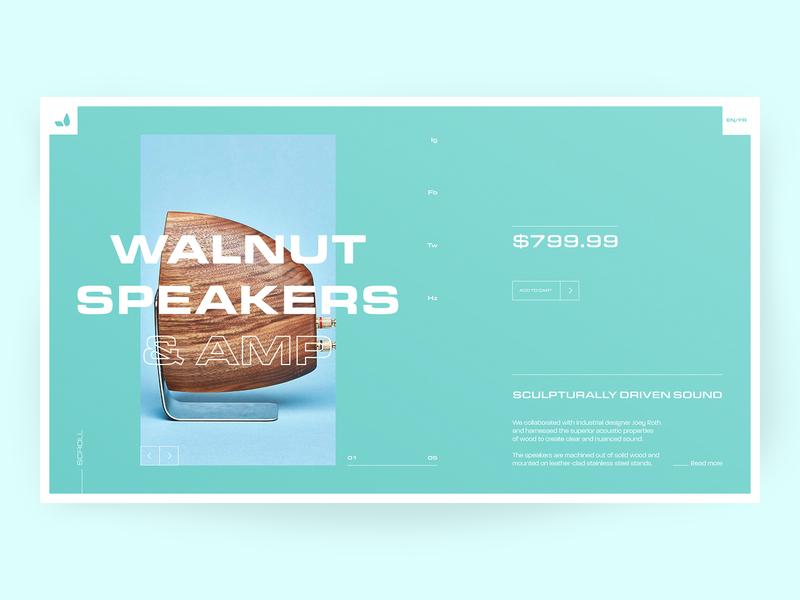 Grovemade Walnut Speaker Product Page landing page interaction grovemade product page interface ux ui minimal layout clean uiux modern concept web design