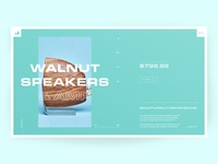 Grovemade Walnut Speaker Product Page landing page interaction grovemade product page interface ux ui minimal layout clean uiux modern concept web design