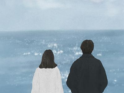 Some distant sea digitalillustration illustration