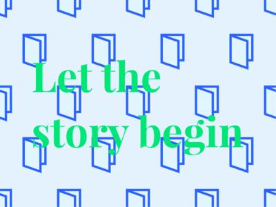 Let the story begin door book pattern typography graphic design serif igenius artificial intelligence medium story begin