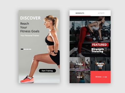 Fitness Mobile App Layout uipractice ui patterns uidesign branding ui ux adobe photoshop clean ui illustrator webdesign design