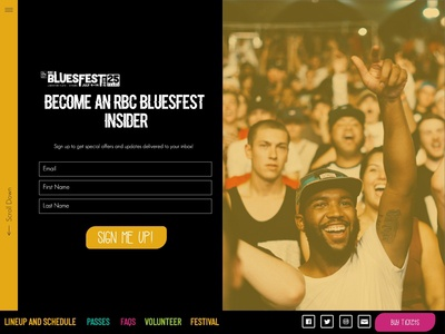 Bluesfest newsletter sign up page