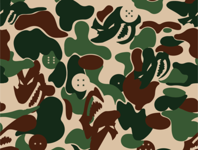 Boozaru Camo (BAPE / DBZ) vector branding anime fashion streetwear design bathingape dragonballz camouflage bape dbz camo