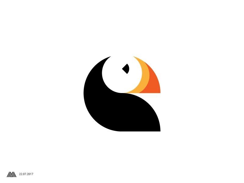 Puffin logo bird illustration bird icon bird logo graphics graphic design graphicdesign graphic logo design logos logodesign cute geliskhanov logotype symbol mark logo space negative bird puffin