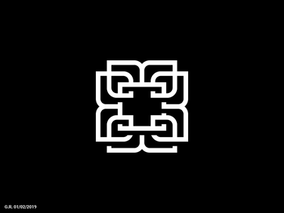 Lined negative space cross icon symbol mark logotype logo geliskhanov line space negative cross