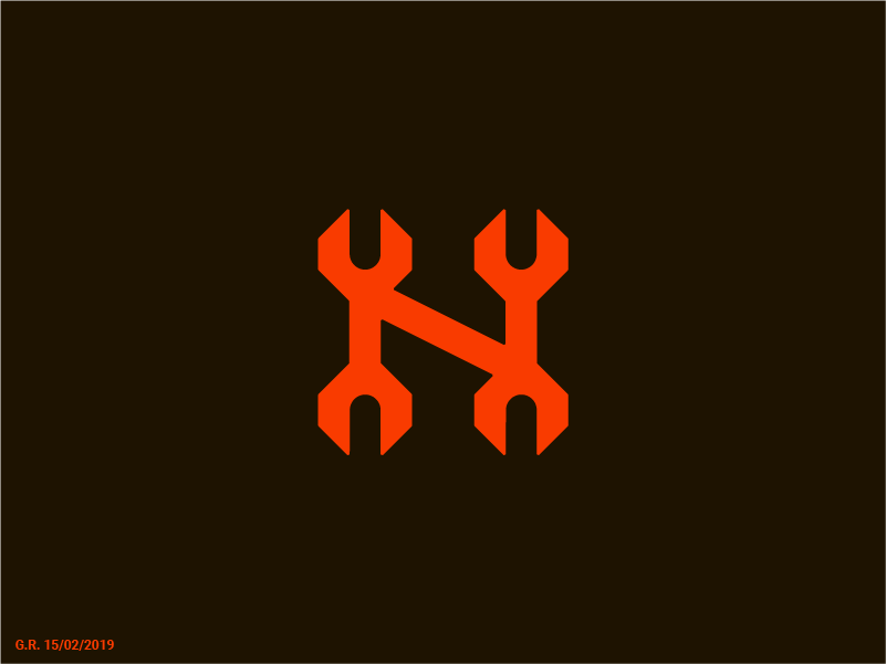 N/Wrench orange repair fix wrench n letter logotype symbol mark geliskhanov logo