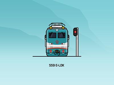 SS9 E-lok   blue green rail railway illustration train locomotive