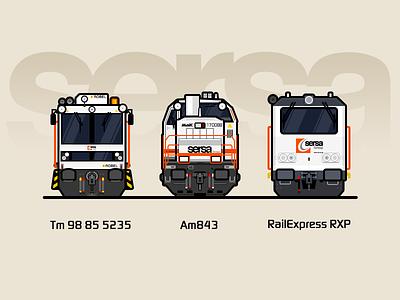 Sersa AG yellow white rail railway illustration locomotive train