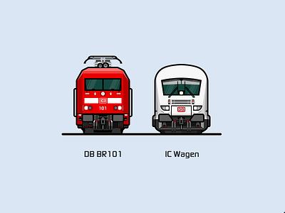DB BR101   white red rail railway illustration locomotive train