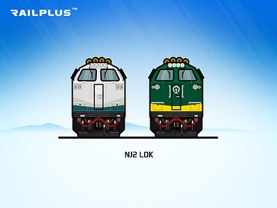 CR NJ2 blue green rail railway illustration locomotive train