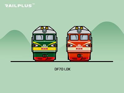 CR DF7D red green rail railway illustration locomotive train