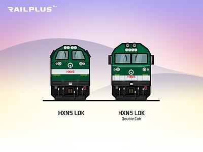 CR HXN5 red green rail railway illustration locomotive train
