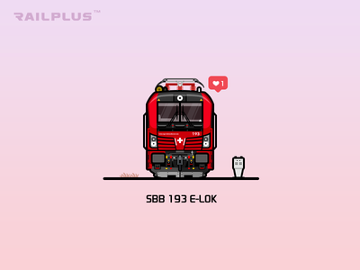 Sbb 193 railplus red rail railway illustration locomotive train