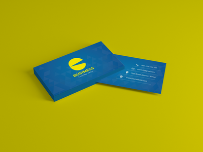 ELEGANT BUSINESS CARD simple business card blue  yellow modern creative corporate business card stationary design clean brand identity branding business card design identity card stationary unique sample print material artistic art print ready graphic designer