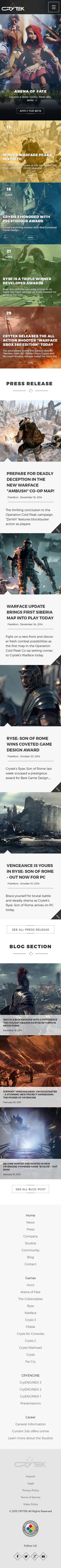 Crytek homepage mobile1