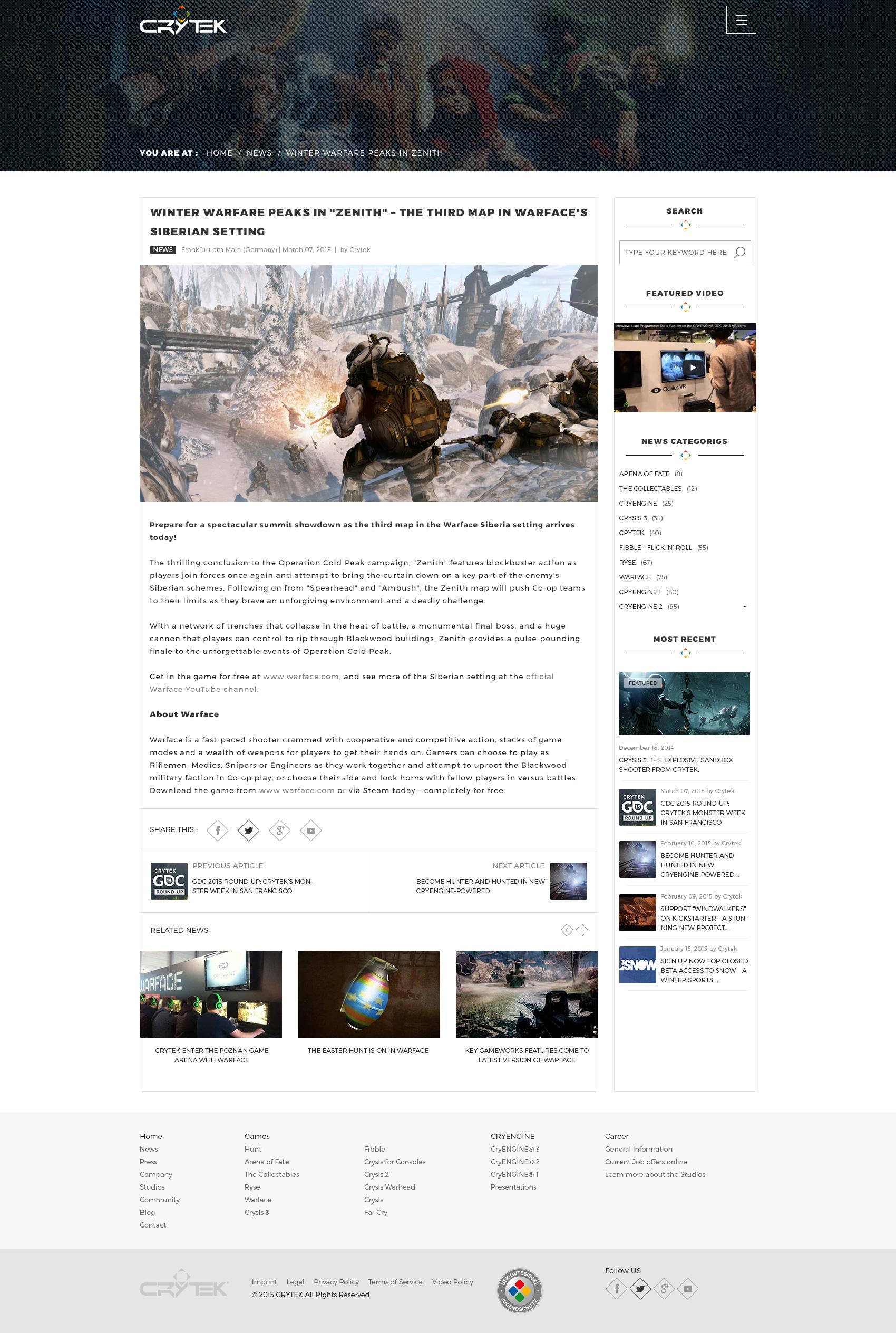 Crytek news detail