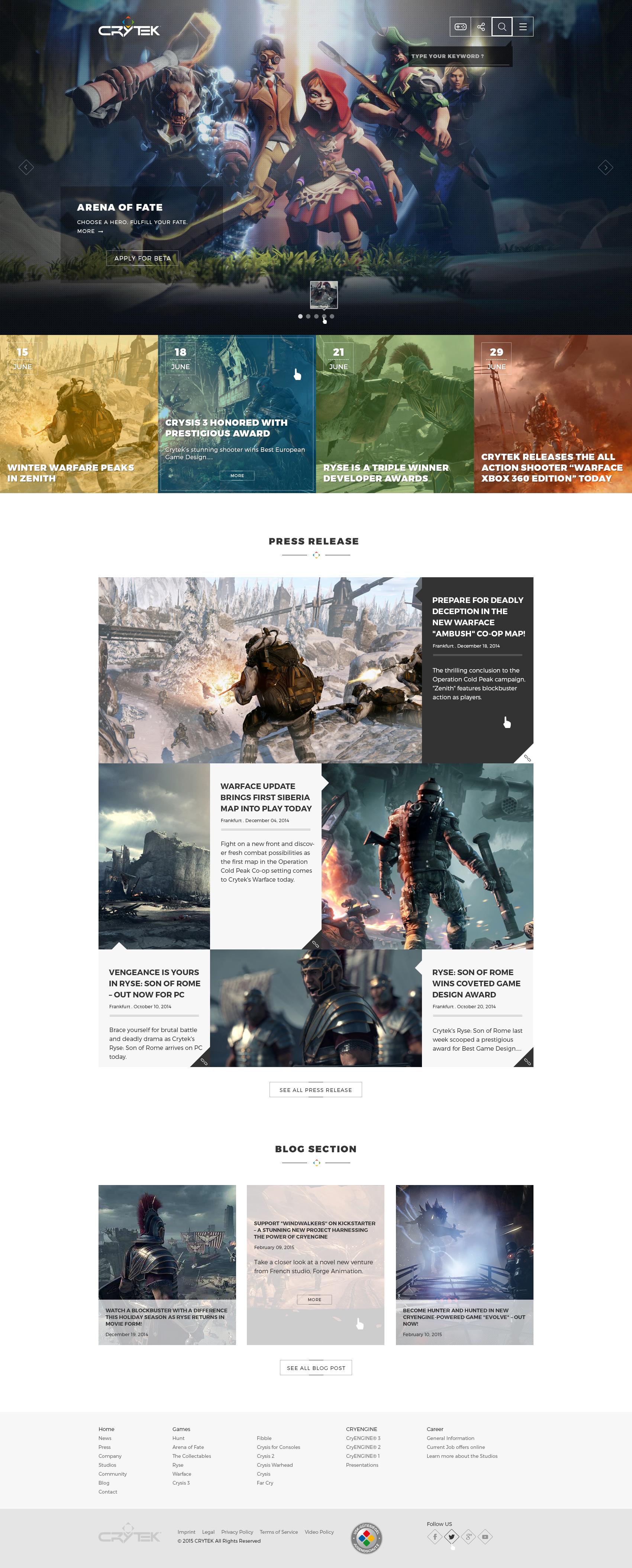 Crytek homepage1.1