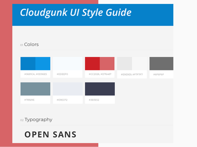 Cloudgunk Style Guide ui design style guide palette guidelines guide grid design