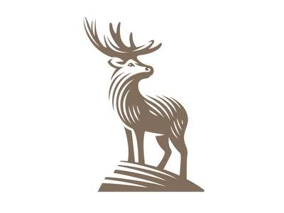 Deer icon illustration style line animal logo deer