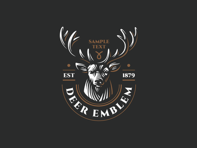 Deer animal emblem logo head deer