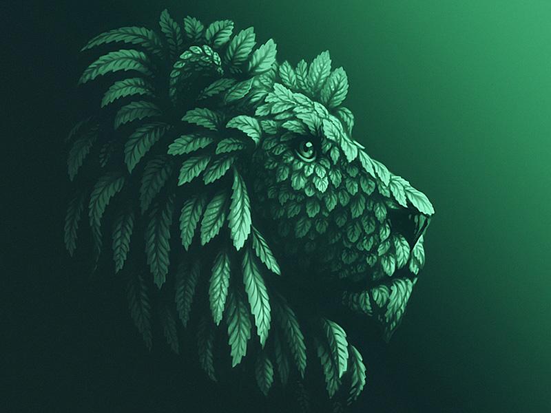 Mint Lion illustration lion head animal leaf lion