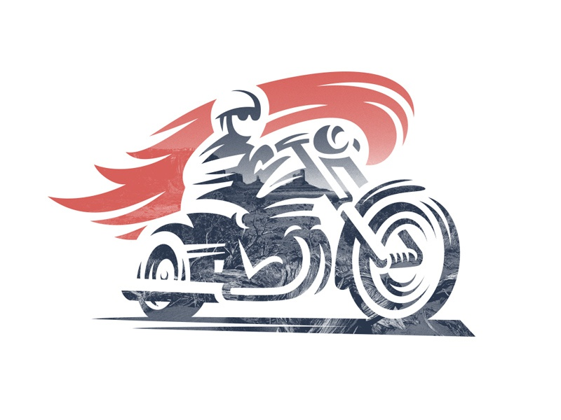 Moto fire style classic line logo motorcycle moto