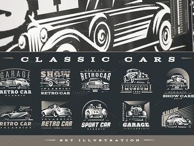 Classic Car Logo icon emblem vintage classic style retro old logo line car