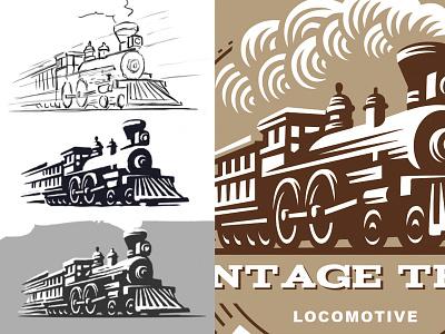 Locomotive illustration logo train locomotive