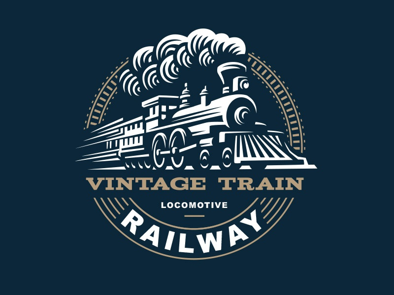 Locomotive locomotive train logo illustration