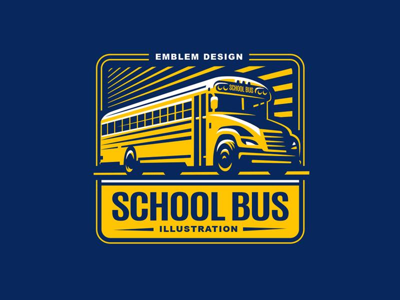 School Bus sign logo emblem bus school