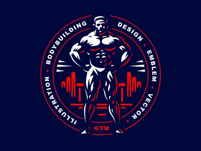 Bodybuilding muscles emblem logo men bodybuilding