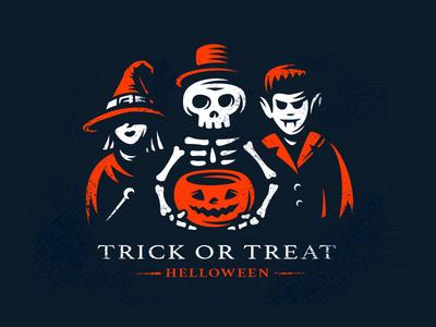 Trick or treat witch skeleton vampire logo party halloween