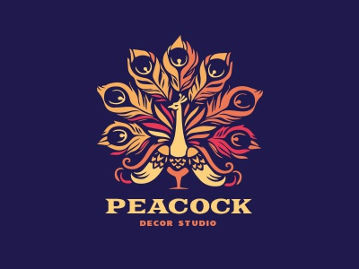 Peacock bird logo peacock