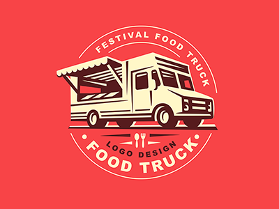 Food Truck template logo truck food