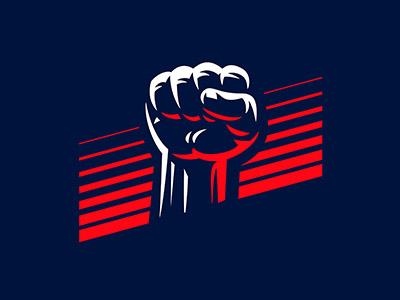 Fist power force logo fist