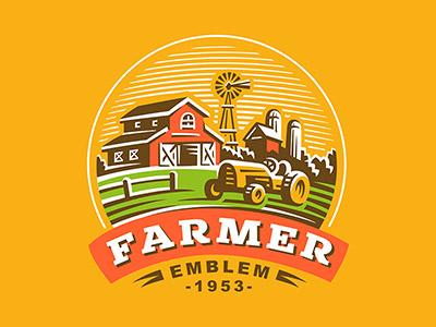 Farm farmer ranch tractor logo farm