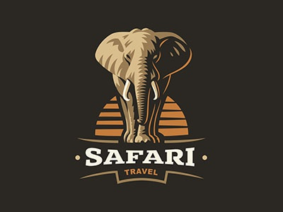 Elephant illustration logo travel safari elephant