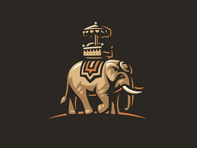 Elephant illustration logo travel elephant