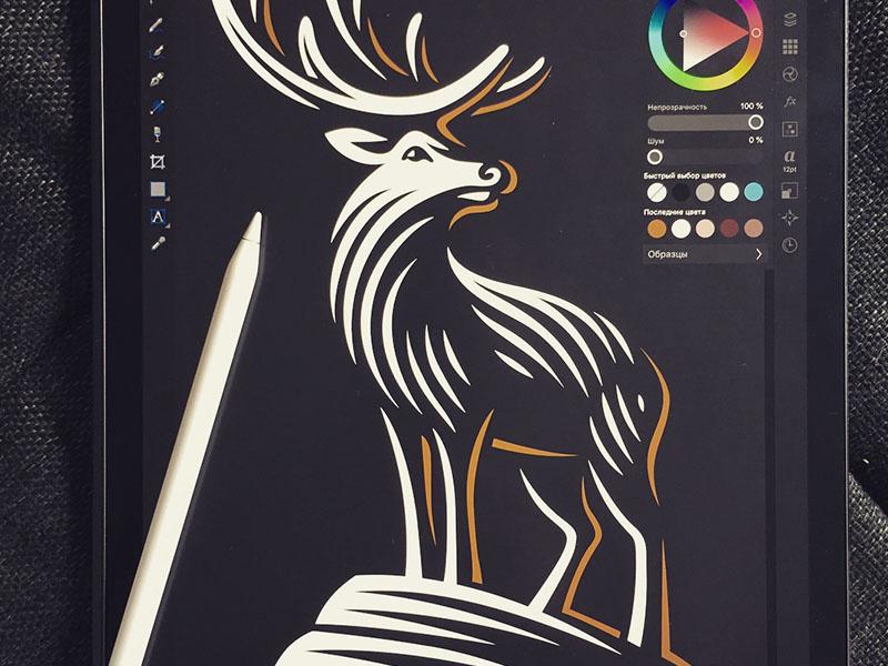 Deer affinity ipadpro illustration logo deer
