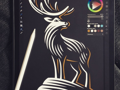 Deer affinity ipadpro illustration logo deer
