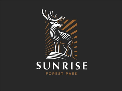Sunrise animal sunrise illustration logo deer