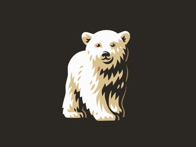 White Bear style line icon little animal illustration logo white bear