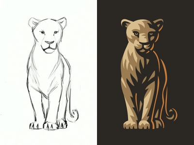 Lioness illistration logo animal lioness