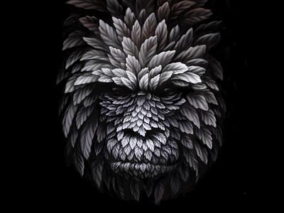 Gorilla nature leaf illustration gorilla