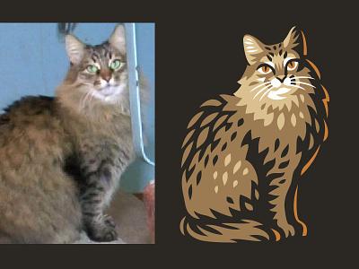 Cat line design illustration logo cat